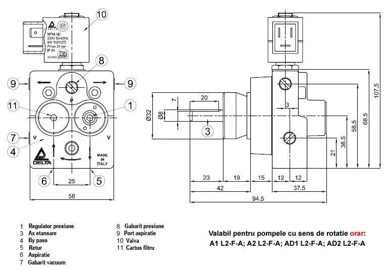 delta pompa teknik resim - Yakıt Pompası