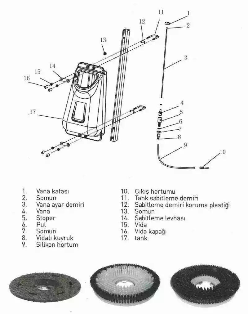 rota ht 500 fircalı hali zemin yikama ve cilalama makinesi teknik semasi - Zemin Yıkama ve Cilalama Makinesi